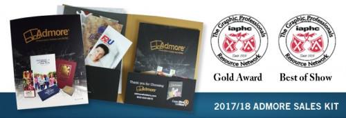 "The ""2017 Admore Sales Kit"" earned a Gold award and a ""Best in Show"" award at the 28th annual ""Detroit Club of Printing House Craftsmen, Gallery of Superb Printing."""