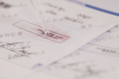 Layered overt and covert security features help create fraud-resistant checks. Shown are variable data TROYMark and TROY MICR Toner Secure printed on blank check stock.