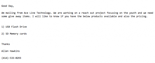 Chris Morrissey has received several fraudulent emails, like this one, requesting information on products.